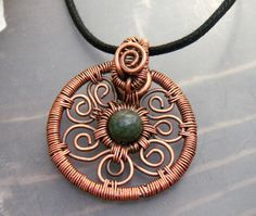 Celtic Shield Pendant in Copper and African by WynterCreations, $40.00