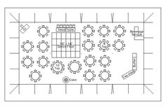 Sample Layout for a reception with 150 guests a 40' x 80' tent with dinner seating, a buffet, a dance floor and space for a DJ.:
