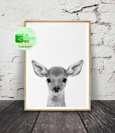Deer Print, Baby Fawn Wall Art, Woodlands Decor, Nursery Animal, Printable Kids Gift, Black and White, Digital Download, Poster, Minimalist by SiriiMirri on Etsy