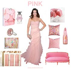 Pink Color Decor Fashion Inspiration Board, AM Dolce Vita, Pink Sofa, Caitlin Wilson Chinoiserie Pillows, Valentino coffee table book, pink lemonade cake, Valentine's Day