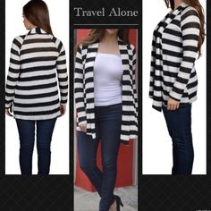 In season all times -stripes for the lady Just add this to your favorite top and you are ready to go . 48% polyester 48%rayon  5%spandex . Sweaters Cardigans