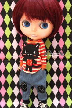 Girlish Blythe doll outfits Lovely Cat Tee by DollyGirlish on Etsy