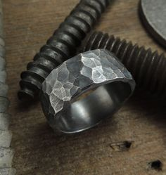 8mm+Mens+Rugged+Wedding+Ring+Hammered+by+PointNoPointStudio,+$115.00