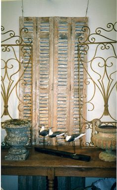La Pouyette....: The Decorative Antiques & Textiles Fair, London - a pair of French wrought iron room divider's, 1940s on a 19th century drapers table
