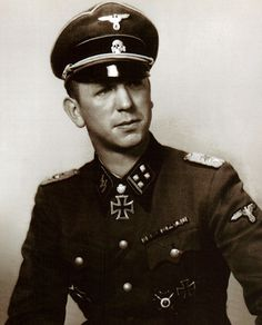 """✠ SS-Brigadeführer Kurt """"Panzer"""" Meyer. Iron Cross 2nd class: September 20, 1939 Iron Cross 1st class: June 8, 1940 German Cross in Gold: February 8, 1942 Knight's Cross: May 18, 1941 SS-Sturmbannführer in Greek battles. Oak Leaves: May 23, 1943 and with Swords August 1944. In the fight with Russia, Meyer was a leader and a role model, he was tough with himself and with his men. A highly effective and respected commander."""