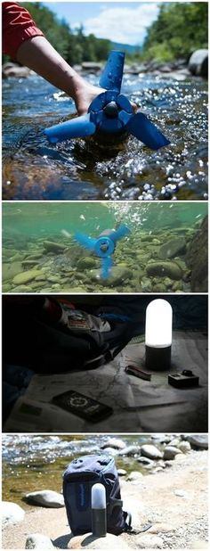 Estream: Hydroelectric Generator that Fits in your Backpack - Bring your own hydroelectric power plant. Estream converts any type of moving water into stored energy to charge all usb-connected mobile devices.