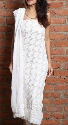 FLAT 40% OFF on #White Chikankari Embroidered #Unstitched #Straight #Suit With Dupatta