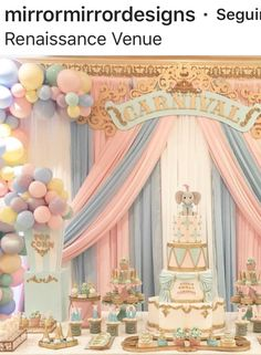 Colorful balloon and pink and grey background decor for baby girl birthday party Dumbo Birthday Party, Carousel Birthday Parties, Carousel Party, 1st Birthday Party For Girls, Circus Theme Party, Circus Birthday, Baby Birthday, Birthday Party Decorations, Baby Shower Decorations