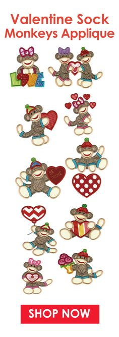 Calling all sock monkey lovers! Love is in the air with our latest installment in our sock monkey series. There are 12 different designs AND each comes in 2 sizes. Shop now @ designsbyjuju.com #DesignsbyJuJu