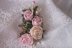 Ribbon Roses Corsage Bridal Hair Accessory Floral Pin in Pastel Pink and Ivory Roses with Vintage Stamens, Crystals, Sparkling Berries Rose Corsage, Floral Pins, Ivory Roses, Custom Ribbon, Silk Ribbon Embroidery, Ribbon Work, Pearl Hair, Ribbon Crafts, Bridal Hair Accessories