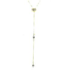 60cc5aae203 colar banhado a ouro com fio longo com três zitcônias.