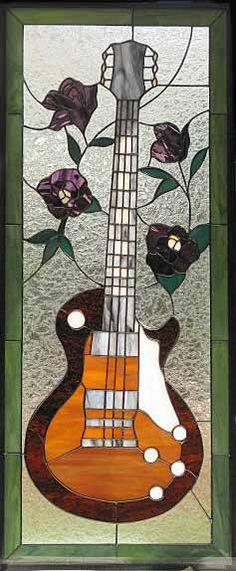 guitar stainedglass... minus flowers for mancave