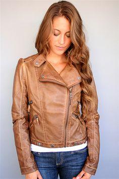 Tan Faux Leather Moto Jacket