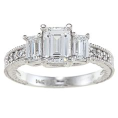 Emerald-cut clear cubic zirconia engagement-style ring14-karat white gold jewelryClick here for ring sizing guide