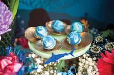 "Mermaid Pearls + Cake Balls from a Shark & Mermaid ""Under the Sea"" Joint Birthday Party via Kara's Party Ideas! http://KarasPartyIdeas.com (17)"