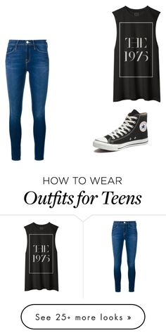 """1975"" by ebgillette on Polyvore featuring Frame Denim, Converse, women's clothing, women, female, woman, misses and juniors"