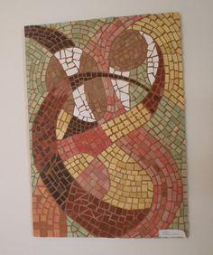 Tanec - mozaika mozaika z keramických dílků lepená na dřevotřískové desce, vel. 50x70cm