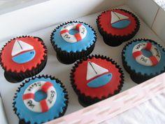 Nautical Theme Cupcakes, with fondant