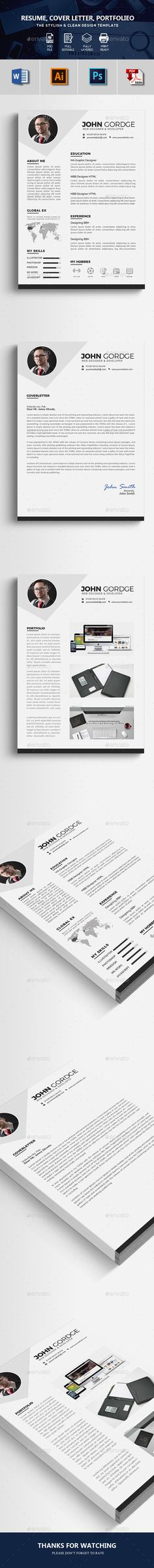 simple clean minimal CV Resume Stationery template