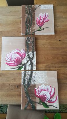 Magnolia Source by ygritteschneefrau Abstract Canvas Art, Acrylic Art, Canvas Wall Art, Painting Lessons, Art Lessons, Painting & Drawing, Simple Artwork, Mural Art, Painting Inspiration