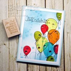 Lets Celebrate Birthday Balloons Fancy Greeting Card Handmade for Wife Girlfriend Boyfriend Husband Friend Sister Mom Daughter Niece Aunt by JanTink on Etsy