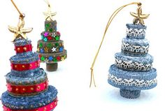 Christmas tree ornaments made from the seams of cut-up jeans!  I've always wondered what to do with those seams.