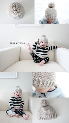Crocheted Ribbed Beanie - Free Pattern - delia creates #freepattern #crochetpattern