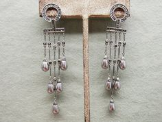 Sterling Silver Marcasite Shoulder Duster Earrings by COBAYLEY