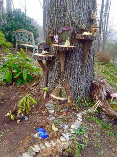 43 beautiful and easy fairy garden ideas for kids 2 - Fairy garden designs, Fairy garden decor, Fairy garden diy, Fairy tree houses, Miniature fairy gard - Fairy Tree Houses, Fairy Village, Fairy Garden Houses, Garden Trees, Balcony Garden, Fairies Garden, Fairy House Crafts, Fairy Garden Plants, Garden Gnomes