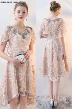 OFF, Prom Dresses Unique Champagne Lace Formal Party Dress with Cape at GemGrace. Modest Homecoming Dresses, Unique Prom Dresses, Modest Dresses, Beautiful Dresses, Lace Dresses, Short Dresses, Short Lace Dress, Formal Dresses, Dress Brukat