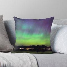 """Aurora IV"" Throw Pillow by juneaasheim Designer Throw Pillows, Pillow Design, Sell Your Art, Aurora, June, Vibrant, It Is Finished, Interior, Artist"