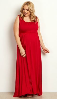 This solid plus size maternity maxi dress is a perfect staple piece this year. A basic sleeveless cut perfect for the warm weather ahead, this maternity maxi dress will beautifully show off your belly with cinching under the bust. Style this maternity maxi dress with a cardigan when it gets cold, and sandals for when it's warm.
