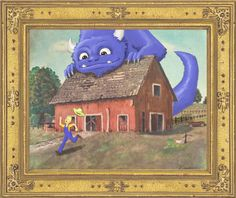 Upscale thrift store paintings by adding characters. Love it!