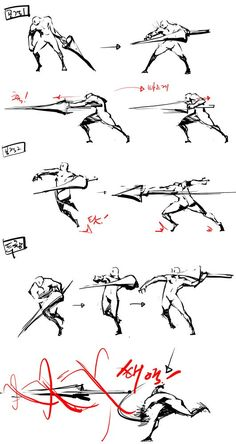 Spear/Scepter fighitng positions Doodle Drawing, Anatomy Drawing, Manga Drawing, Gesture Drawing, Drawing Skills, Drawing Poses, Drawing Techniques, Drawing Tips, Character Poses
