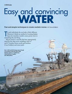 Modeling water for scale models Modeling Techniques, Modeling Tips, Model Warships, Model Ship Building, Water Effect, Military Modelling, Military Diorama, Model Train Layouts, Plastic Models