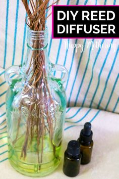 Learn how to make the best DIY Reed Diffusers with essential oils in this easy craft tutorial. They make a pretty home decor idea and the fragrance can easily be customized. Use a repurposed glass bottle for a special touch. #reeddiffusers #diyreeddiffuser #essentialoils #essentialoilideas #diy #howto #homefragrance #easycrafts #doityourself #makeityourself #essentialoilrecipes #homedecor #diydecor #diyhomedecor #homemaking #lifehacks #popularcrafts #craftideas #naturalliving #greenliving Wintergreen Essential Oil, Eucalyptus Essential Oil, Essential Oil Uses, Diy Cleaning Products, Bath Products, How To Make Diy, Beauty Recipe, Natural Oils, Glass Bottles