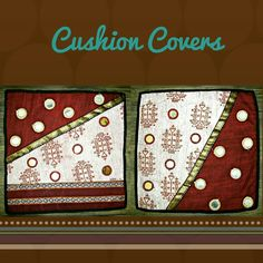 "TITLE : Red polka. MEDIUM : Motif work on cloth. SIZE :16"" ×16"" #MeghnaCreations  #creations #cushioncovers #red #polka  #motif #brocade #big #bold #silver #gold #circles #rust #batik #dyed #artmix #artdesign #allsize #customizable #squares #gift #gifting #mumbai #pintrest"