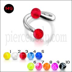 Buy 16G Twisted-Spiral Barbell Red UV Balls Eyebrow and Lip Ring ...