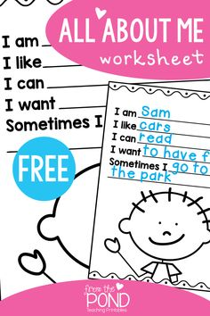 Back to School Freebie - All About Me worksheet perfect for kindergarten, first grade writing.