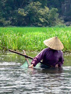 Pêcheur à Ninh Binh, Vietnam #vietnam