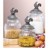 Rooster glass canister set  For my kitchen countertops-Sugar, flour, rice
