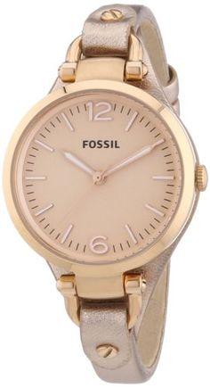 Fossil ES3413 - Reloj analógico de cuarzo para mujer, correa de cuero color oro rosa