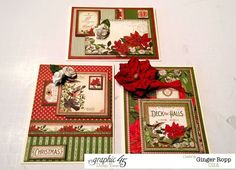 Graphic 45 Time to Flourish Christmas Card Trio