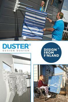 Duster L von Design Duster ist eine moderne Vorrichtung zum Lüften und Abstauben.  Die ausziehbaren Arme erlauben das Aufhängen von Teppichen zum Ausklopfen, das Aufhängen von Bettwäsche zum Lüften oder das Aufhängen von Kleidung zum Trocknen.  Alle Bestandteile des Duster L wurden in Finnland hergestellt und zu einem stabilen Design und zu einer hohen Qualität verarbeitet. Es ist ein beständiges Aluminiumprodukt, das nicht rosten wird und eine Garantie von 3 Jahren verspricht.