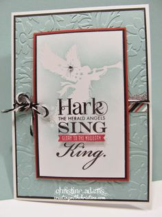 This simple card incorporates 2 different kinds of embossing! I LOVE this DISCOUNTED stamp set! Find out how you can get YOURS! http://www.creatingwithchristine.com/2014/08/sing-glory-card-workshop.html
