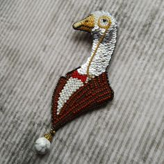 Fine goose , embroidered pin by Evgenia Vasileva Embroidery On Clothes, Beaded Embroidery, Hand Embroidery, Embroidery Designs, Brooches Handmade, Earrings Handmade, Handmade Jewelry, Clay Jewelry, Jewelry Art