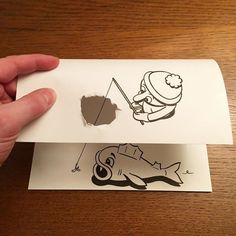 Drawing Ideas Awesome Illusion Tricks That Make Cartoons Jump Off The Paper - UltraLinx - Danish artist, HuskMitNavn, brings the simplest of everyday tasks to life in his quirky illusion drawings. Being able to draw is a talent enough in itself, 3d Illusion Drawing, Illusion Kunst, Illusion Art, Paper Folding Art, 3d Paper Art, Paper Drawing, 3d Drawings, Cartoon Drawings, Cartoon Art