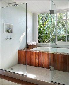 ideas for bath shower combination wet rooms Bathroom Tub Shower, Small Bathroom, Master Bathroom, Bath Tubs, Master Tub, Pool Shower, Rain Shower, Bad Inspiration, Bathroom Inspiration