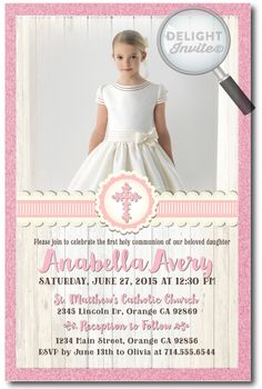 First Holy Communion Invitations for Girls, professionally printed first communion invitations, first communion invitation ideas for girls, vintage communion invites, girls first holy communion, girls confirmation invitations