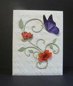 Butterfly & flower over diamond texture card